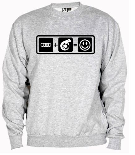 Sudadera Audi + Turbo = Smile, color y talla a elegir.